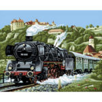 Painting By Numbers Kit DIY Steam Locomotive Canvas Oil Art Picture Craft