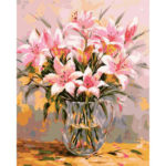 Painting By Numbers Kit DIY Lily Flower Hand Painted Canvas Oil Art Picture