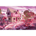 Painting By Numbers Kit DIY Candy House Hand Painted Canvas Oil Art Picture
