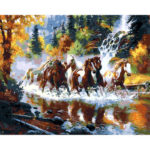 Painting By Numbers Kit DIY Horse Cross River Canvas Oil Art Picture Craft