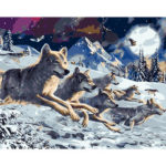 Painting By Numbers Kit DIY Snow Wolf Hand Painted Canvas Oil Art Picture
