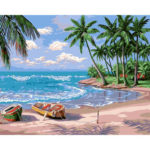 Painting By Numbers Kit DIY Beach Holiday Canvas Oil Art Picture Craft
