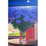 Painting By Numbers Kit DIY Blue Flowers Hand Paint Canvas Oil Art Picture