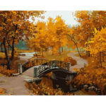 Painting By Numbers Kit DIY Maple Leaf Hand Painted Canvas Oil Art Picture