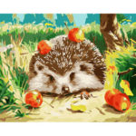 Painting By Numbers Kit DIY Hedgehog Hand Painted Canvas Oil Art Picture
