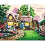 Painting By Numbers Kit DIY Cottage Hand Painted Canvas Oil Art Picture