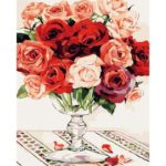 Painting By Numbers Kit DIY Rose Flower Hand Painted Canvas Oil Art Picture