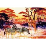 Painting By Numbers Kit DIY Zebra Giraffe Canvas Oil Art Picture Craft