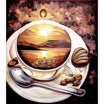 Painting By Numbers Kit DIY Coffee View Hand Painted Canvas Oil Art Picture