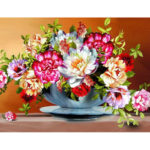 DIY Colorful Flower Painting By Numbers Kit Canvas Oil Art Picture Craft