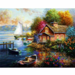 Painting By Numbers Kit DIY Quiet View Hand Painted Canvas Oil Art Picture