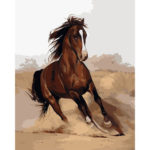 Painting By Numbers Kit DIY Galloping Horse Canvas Oil Art Picture Craft