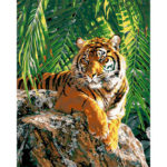 Frameless Painting By Numbers Kit DIY Tiger Hand Painted Canvas Oil Picture