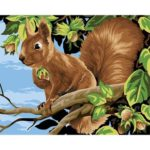 Frameless Painting By Numbers DIY Squirrel Hand Painted Canvas Oil Picture