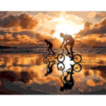 Painting By Numbers Kit DIY Riding Bike Hand Paint Canvas Oil Art Picture