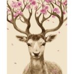DIY Flower Deer Painting By Numbers Kit Hand Painted Canvas Oil Art Picture