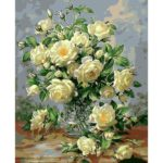 Painting By Numbers Kit DIY Flowers Hand Painted Canvas Oil Art Picture