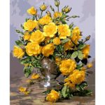 Painting By Numbers Kit DIY Yellow Rose Hand Painted Canvas Oil Art Picture