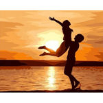 Painting By Numbers Kit DIY Sunset Lovers Canvas Oil Art Picture Craft