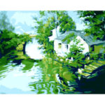 Painting By Numbers Kit DIY Bridge Stream Canvas Oil Art Picture Home Decor