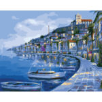 Painting By Numbers Kit DIY Blue Sea Hand Painted Canvas Oil Art Picture