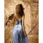 Painting By Numbers Kit DIY Violin Girl Hand Painted Canvas Oil Art Picture