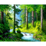 Painting By Numbers Kit DIY Forest Stream Canvas Oil Art Picture Home Decor