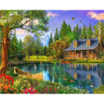 Painting By Numbers Kit DIY Lakeside Cottage Canvas Oil Art Picture Craft