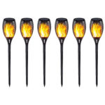 Outdoor Garden Solar Flame Light Waterproof LED Torch Lamp for Yard (6pcs)