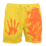 Summer Men Swimming Trunks Change Color Quick Dry Beach Shorts (Yellow S)