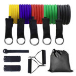 11pcs/set 100lbs TPE Pull Rope Exercise Resistance Bands Fitness Equipment