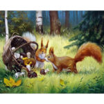 Painting By Numbers Kit DIY Squirrel Hand Painted Canvas Oil Art Picture
