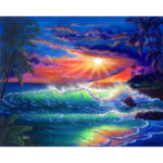 Painting By Numbers Kit DIY Seascape Hand Painted Canvas Oil Art Picture