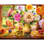 Painting By Numbers Kit DIY Colorful Flower Canvas Oil Art Picture Craft