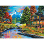 Painting By Numbers Kit DIY Quiet River Hand Painted Canvas Oil Art Picture