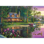 Painting By Numbers Kit DIY River House Hand Painted Canvas Oil Art Picture