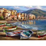 Painting By Numbers Kit DIY House Boat Hand Painted Canvas Oil Art Picture