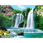 Painting By Numbers Kit DIY Flower Waterfall Canvas Oil Art Picture Craft