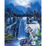 Painting By Numbers Kit DIY Tiger Waterfall Canvas Oil Art Picture Craft