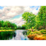 Painting By Numbers Kit DIY Creek Hand Painted Canvas Oil Art Picture Craft