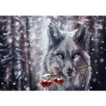 Painting By Numbers Kit DIY Animal Wolf Hand Painted Canvas Oil Art Picture