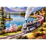 Painting By Numbers Kit DIY Train Hand Painted Canvas Oil Art Picture Craft
