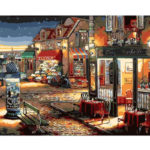 Painting By Numbers Kit DIY Street Shop Hand Painted Canvas Oil Art Picture