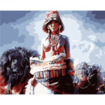 Painting By Numbers Kit DIY Tibet Woman Hand Painted Canvas Oil Art Picture
