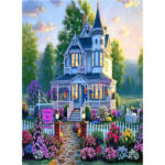 Painting By Numbers Kit DIY Flower Castle Canvas Oil Art Picture Home Decor
