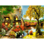 Painting By Numbers Kit DIY Country Cottage Canvas Oil Art Picture Craft