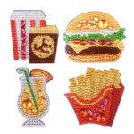 4pcs DIY Full Drill Diamond Burger Fries Food Embroidery Fridge Magnets
