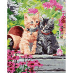 Painting By Numbers Kit DIY Cats Flower Hand Painted Canvas Oil Art Picture