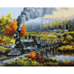 Painting By Numbers Kit DIY Grove Train Hand Painted Canvas Oil Art Picture