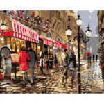 DIY Busy Street Painting By Numbers Kit Hand Painted Canvas Oil Art Picture